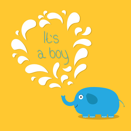 it's: Its a boy. Baby shower card with elephant and fountain. Flat design Vector illustration. Illustration
