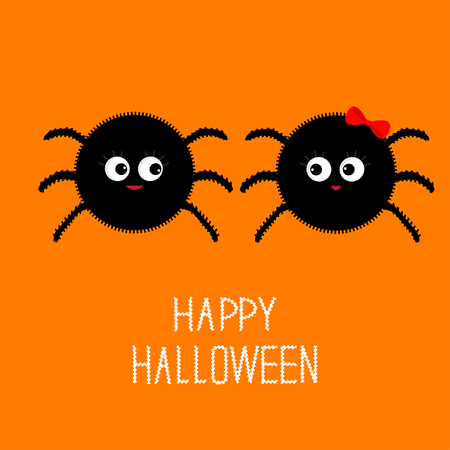 boy girl: Spider insect family couple. Boy Girl. Happy Halloween card. Flat design Vector illustration. Illustration