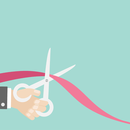 Hand scissors cut the ribbon on the left. Opening ceremony. Inauguration Flat design style. Vector illustration