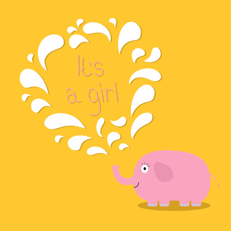 chap: Its a girl. Baby shower card with elephant and fountain. Flat design Vector illustration. Illustration