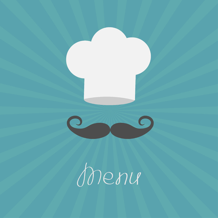 Chef hat and big mustache. Menu card. Flat design style. Starburst background Vector illustration.