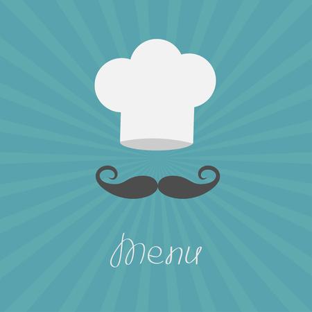 chef: Sombrero del cocinero y gran bigote. Carta de menu. Estilo de diseño plano. Starburst Ilustración vectorial.