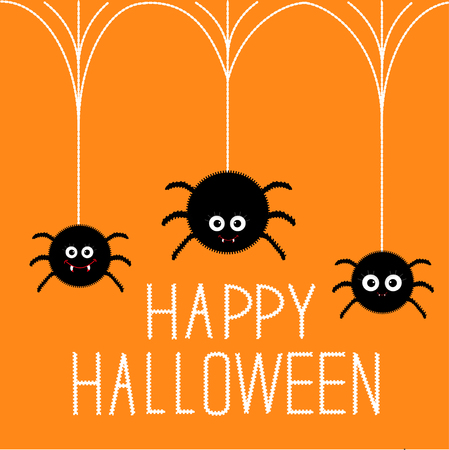 Three cute hanging fluffy spiders with fang. Happy Halloween card. Flat design Vector illustration.
