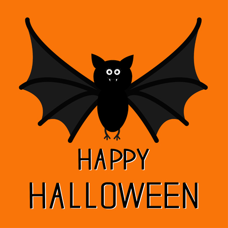 Cute bat. Happy Halloween card.  Flat design. Orange background. Vector illustration Illustration