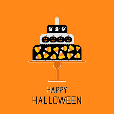 candy corn: Cake with candy corn, pumpkin, ghost and candle. Happy Halloween. Black background. Flat design. Vector illustration