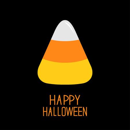 Candy corn. Happy Halloween card. Flat design.  Vector illustration