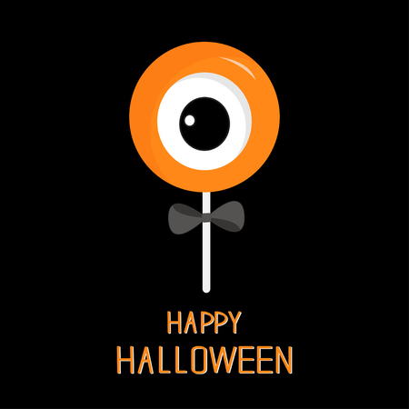 black bow: Sweet candy lollipop with eyeball. Black bow. Happy Halloween card. Flat design. Vector illustration Illustration