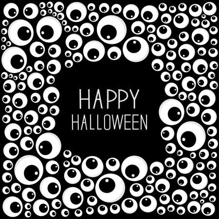 spooky eyes: Eyes frame Halloween card. Spooky black background Flat design. Vector illustration