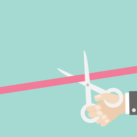 inaugural: Hand scissors cut the straight ribbon right. Opening ceremony. Inauguration Flat design style. Vector illustration