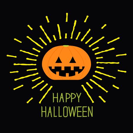 family line: Shining pumpkin. Yellow dash line. Halloween card for kids. Black background Flat design. Vector illustration
