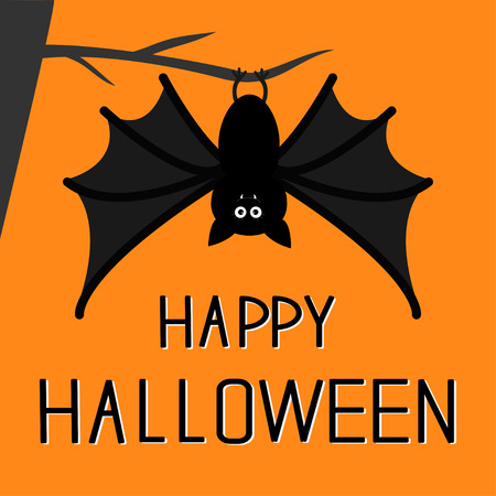 Cute bat hanging on the tree. Happy Halloween card.  Flat design. Orange background. Vector illustration