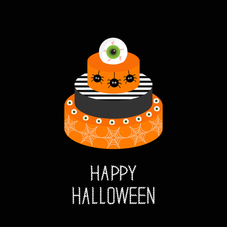 eyeballs: Cake with pumpkin, ghost, spider web and eyeballs. Happy Halloween. Black background. Flat design. Vector illustration