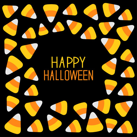 corn: Candy corn frame. Happy Halloween card. Flat design. Vector illustration