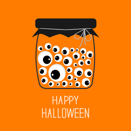 Glass bottle jar with eyeballs Halloween card. Spooky orange background Flat design. Vector illustration Illustration
