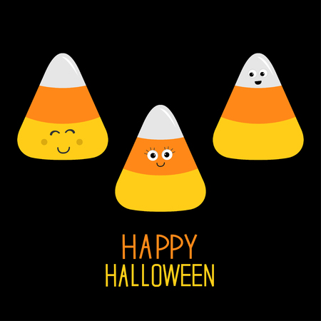 Candy corn set with funny faces. Happy Halloween card. Flat design. Vector illustration