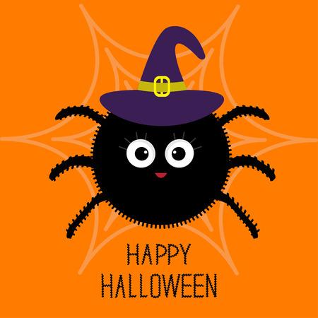 bruja: Linda de la historieta de la araña mullida en la web. Sombrero de bruja. Tarjeta de Halloween. Diseño plano. ilustración vectorial Vectores
