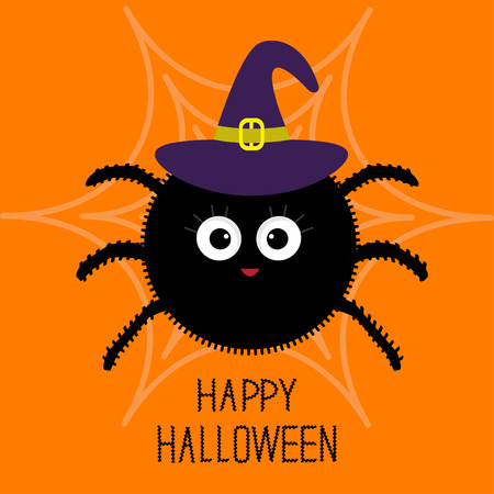 Cute cartoon fluffy spider on the web. Witch hat. Halloween card. Flat design. Vector illustration Illustration