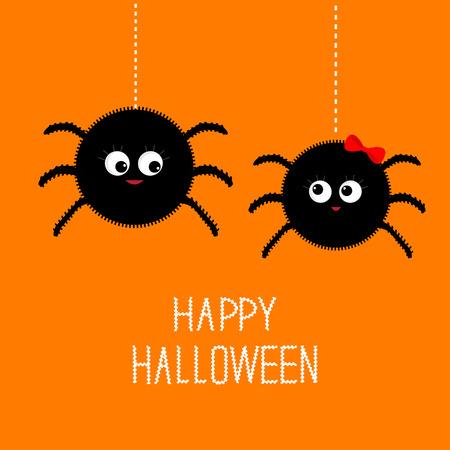 Twee opknoping spin insect familie paar. Jongen meisje. Happy Halloween-kaart. Platte ontwerp Vector illustratie.