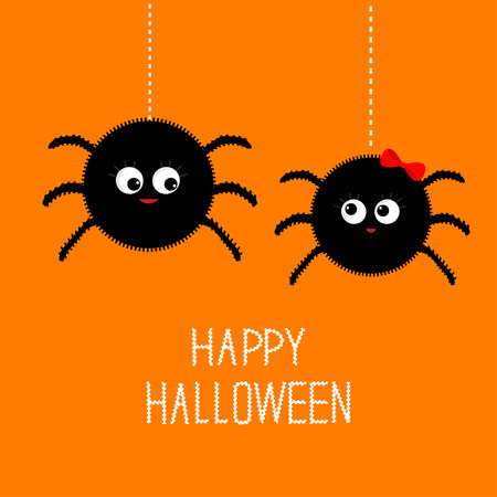 postcard background: Two hanging spider insect family couple. Boy Girl. Happy Halloween card. Flat design Vector illustration.