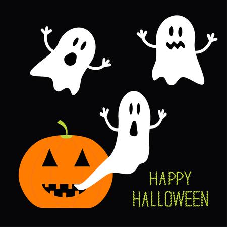 ghost: Pumpkin Candles Flying Ghost set. Halloween card for kids. Flat design. Vector illustration Illustration