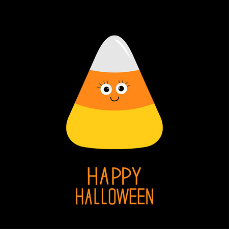 candy corn: Funny candy corn with face. Happy Halloween card. Baby background. Flat design. Vector illustration