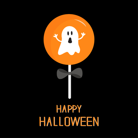 black bow: Sweet candy lollipop with ghost. Black bow. Happy Halloween card. Flat design Vector illustration