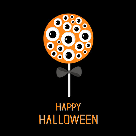 black bow: Sweet candy lollipop with eyeball set. Black bow. Happy Halloween card. Flat design. Vector illustration Illustration