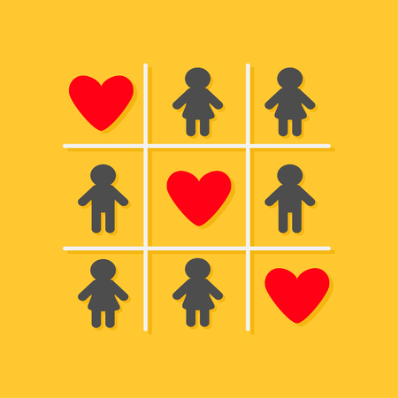 big toe: Man Woman icon Tic tac toe game. Three red big heart sign Yellow background Flat design Vector illustration