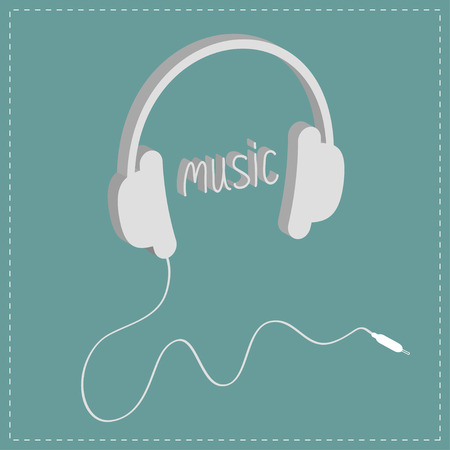 head shape: Headphones with cord and word Music. Isometric icon. Dash line. Blue background. Vector illustration.