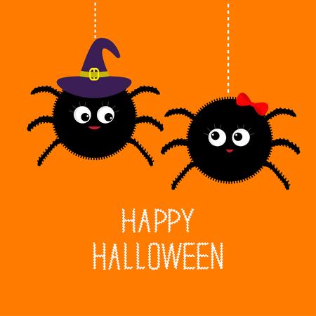 brujas caricatura: Dos ara�a que cuelga pares de la familia de insectos. Ni�a Ni�o. Sombrero de bruja. Happy Halloween tarjeta. Dise�o plano Ilustraci�n del vector.