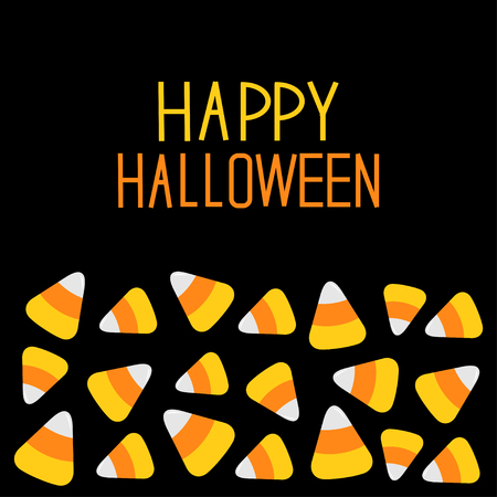 happy: Candy corn set. Happy Halloween card. Flat design. Vector illustration