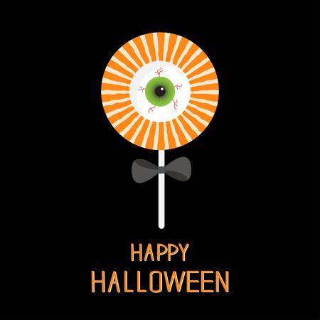 licking: Sweet candy lollipop with green eyeball. Black bow. Happy Halloween card. Flat design. Vector illustration Illustration