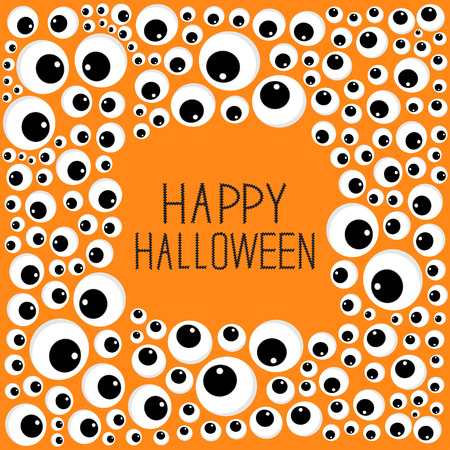 spooky eyes: Eyes frame Halloween card. Spooky orange background Flat design. Vector illustration