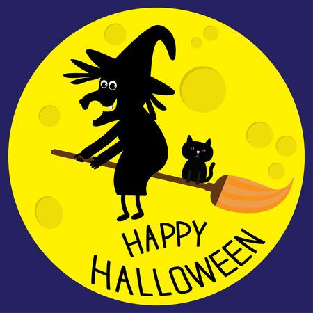 bruja: Bruja del vuelo negro y el gato. Luna grande. Tarjeta feliz Halloween. Diseño plano. Ilustración del vector. Vectores