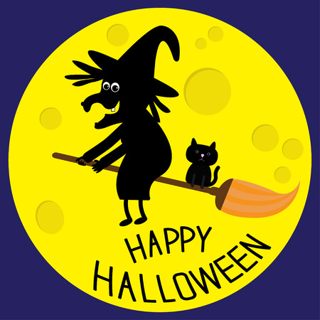 witch: Flying black witch and cat. Big moon. Happy Halloween card. Flat design. Vector illustration.