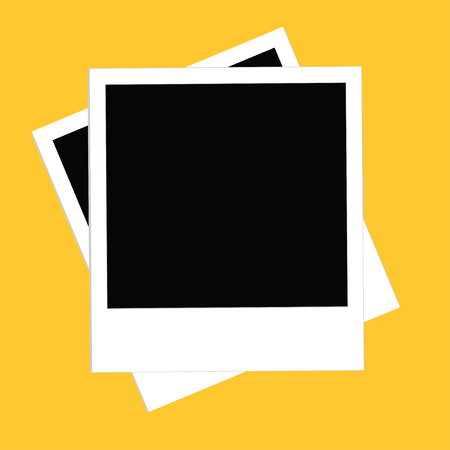 yellow photo: Two instant photo set. Flat design style. Yellow background. Template. Vector illustration Illustration