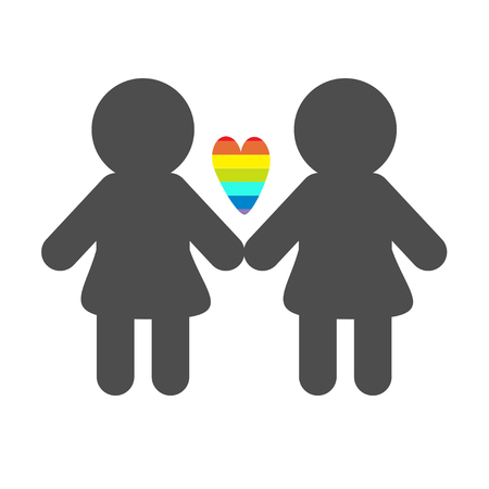 sex discrimination: Gay marriage Pride symbol Two woman silhouette LGBT icon Rainbow heart Flat design Vector illustration Illustration
