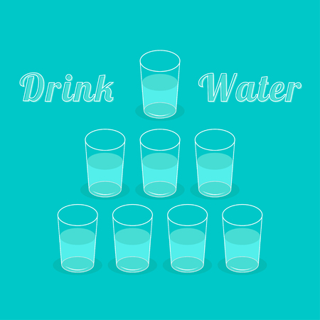 vasos de agua: Drink eight glasses of water. Healthy lifestyle concept. Infographic. Flat design.