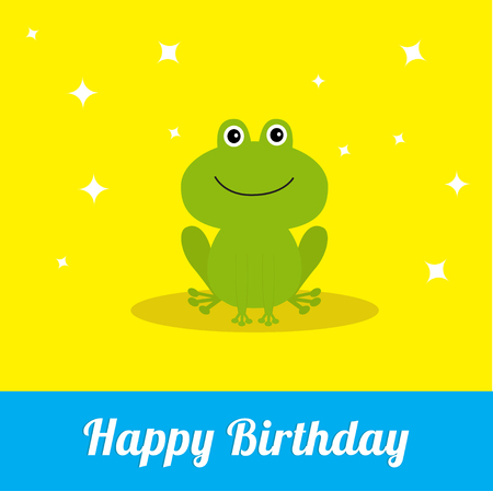 Happy Birthday card with cute frog. Baby background Flat design Sparkles