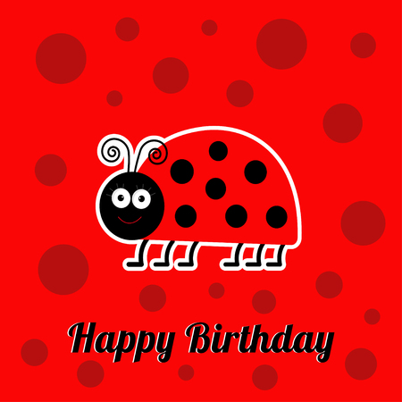 cute lady: Happy Birthday card with cute lady bug ladybird insect. Baby background Flat design
