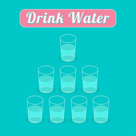 vasos de agua: Drink 8 glasses of water. Healthy lifestyle concept. Pyramid set. Infographic. Flat design. Vector illustration.