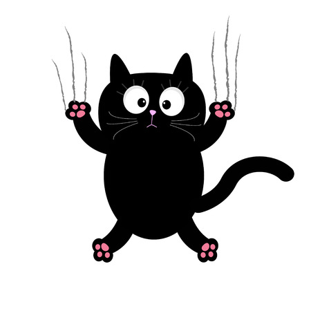 funny cats: Cartoon black cat claw scratch glass. White background. Isolated. Flat design. Vector illustration