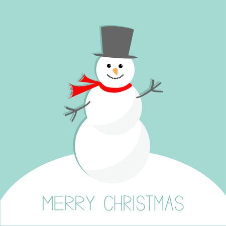 snowdrift: Cartoon Snowman on snowdrift. Blue background. Merry Christmas card Flat design Vector illustration Illustration