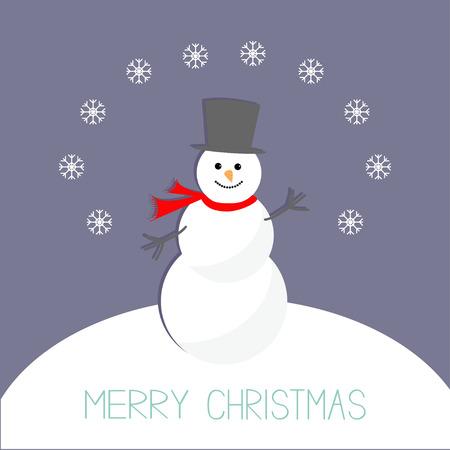 snowdrift: Cartoon Snowman on snowdrift and snowflakes. Violet background. Merry Christmas card Flat design. Vector illustration