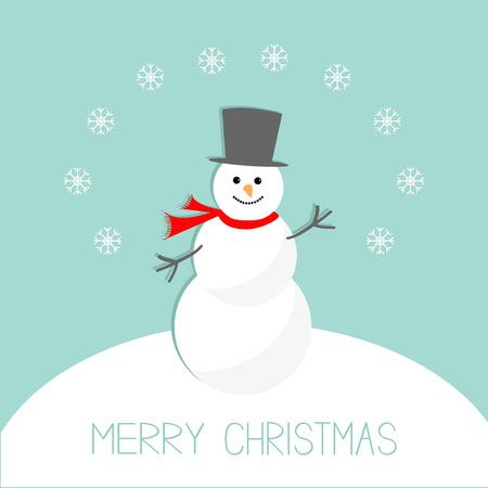 snowdrift: Cartoon Snowman on snowdrift and snowflakes. Blue background. Merry Christmas card Flat design. Vector illustration