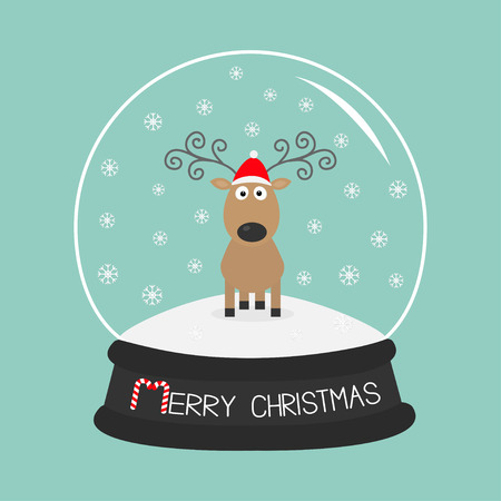 #48786765   Cute Cartoon Deer Curly Horns, Red Hat. Crystal Ball With  Snowflakes. Merry Christmas Blue Background Card Flat Design Vector  Illustration