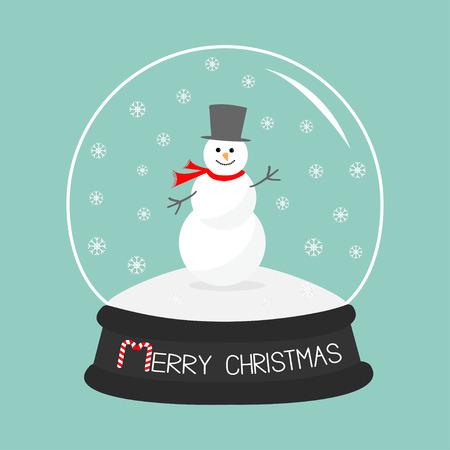 snowdrift: Cartoon Snowman on snowdrift  Crystal ball with snowflakes.  Blue background. Merry Christmas card Flat design Vector illustration