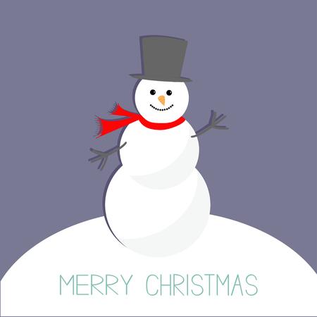 snowdrift: Cartoon Snowman on snowdrift. Violet background. Merry Christmas card Flat design Vector illustration