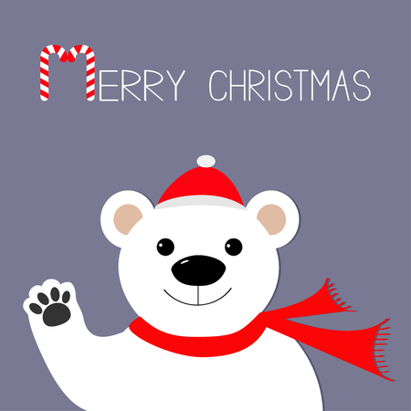 merry: White polar bear in santa claus hat and scarf, paw. Candy cane. Merry Christmas Greeting Card. Violet background. Flat design Vector illustration
