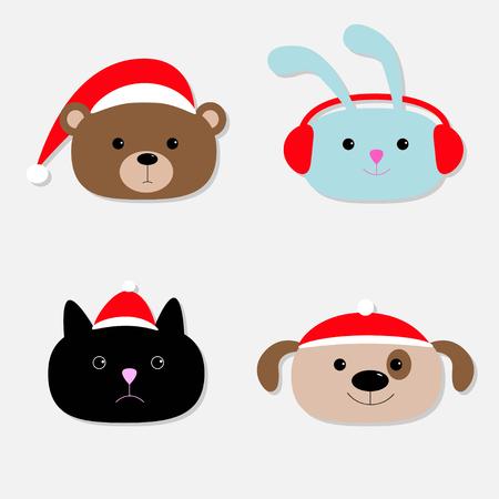 earphones: Animal head set. Cartoon bear, rabbit, cat, dog in santa claus hat, earphones. Flat design. Vector illustration Illustration